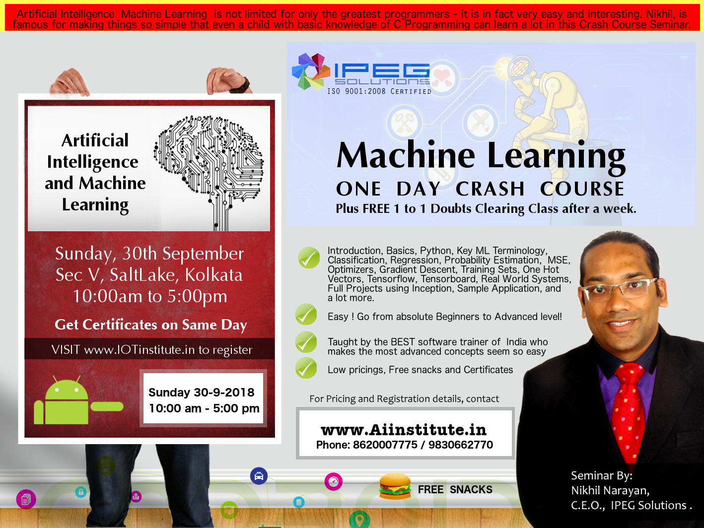 Aritificial Intelligence, Machine Learning, Deep Learning Training